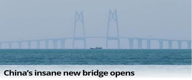 World's longest sea bridge finally opens